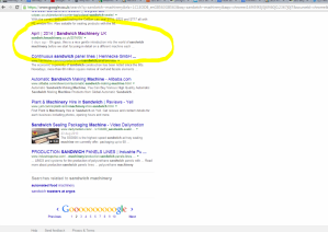 SEO result - page 2 of google